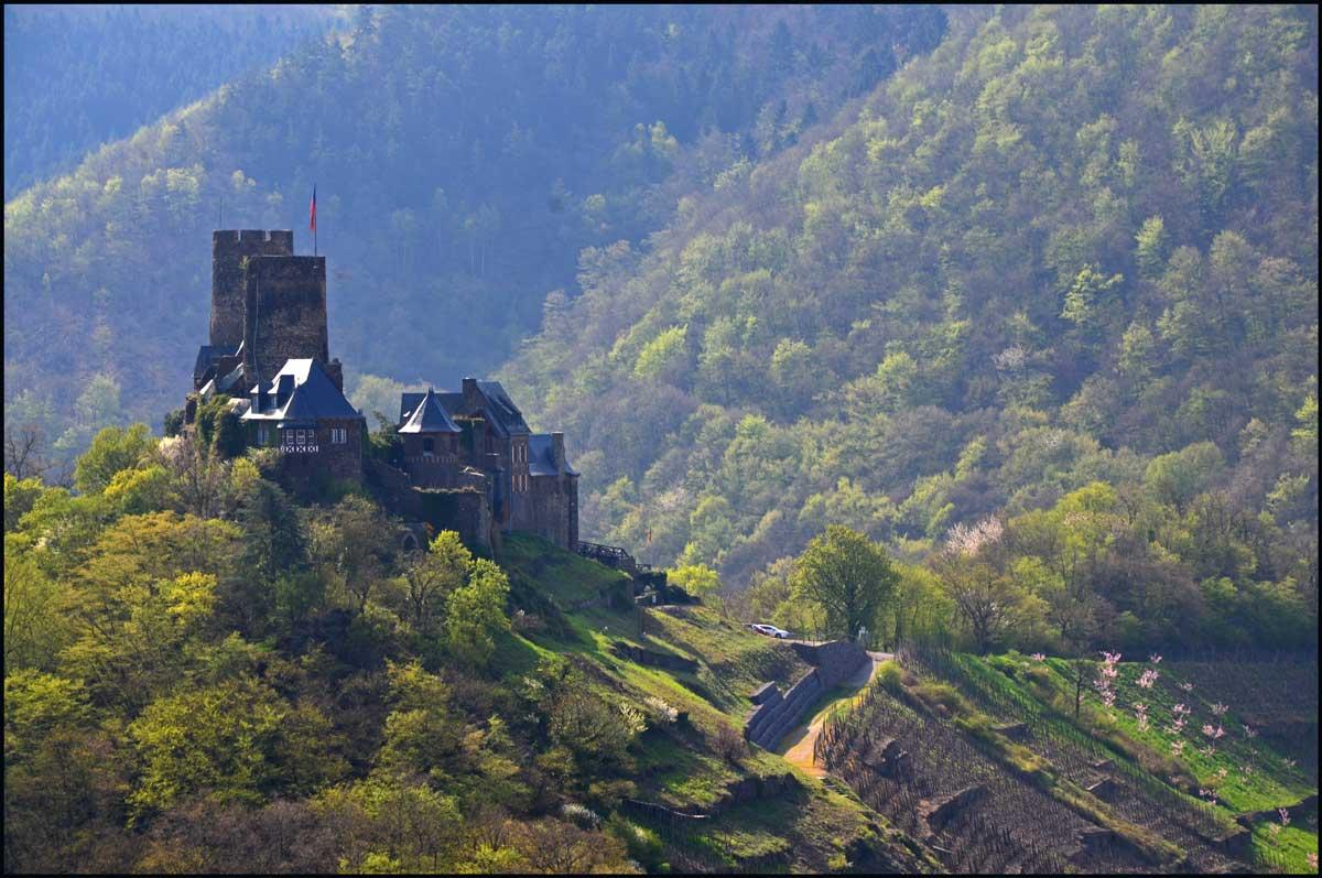Aussicht auf Burg Thurant vom Bleidenberger Plateau aus gesehen.