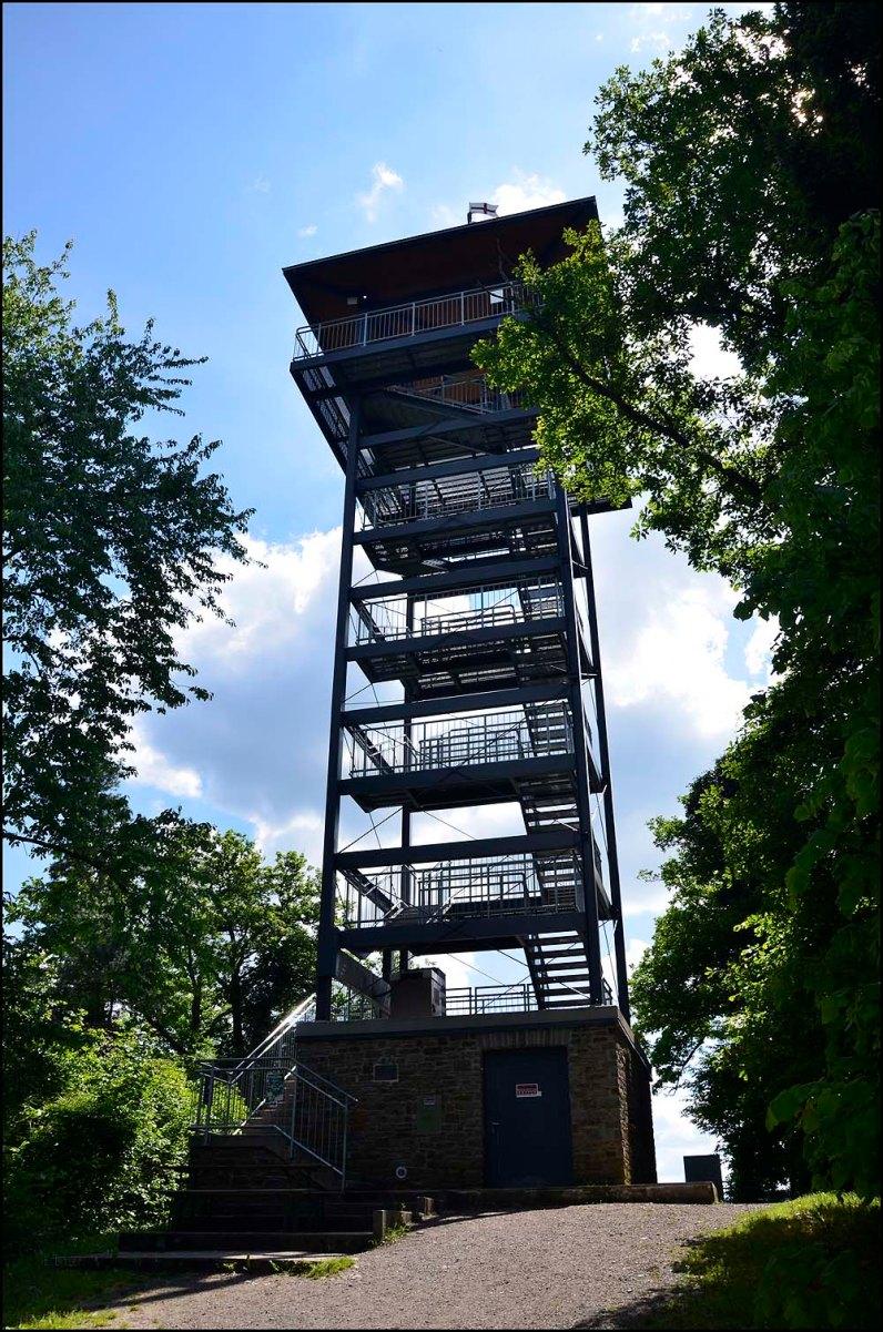Der ursprünglich 1983 errichtete Aussichtsturm 2008 abgebaut. Der neue Turm aus Stahlkonstruktion wurde am 31. Mai 2009 für zur Benutzung freigegeben. Vom Turm bietet sich ein weiter Blick über die Moselschleife und die Ortschaften Pünderich, Reil, Alf, Alf-Fabrik, Bullay, Zell und zur Marienburg. Unter dem Prinzenkopf verläuft der 1878 gebaute Prinzenkopftunnel (459 m) und das damit verbundene längste Hangviadukt Deutschlands (786 m, 1880 gebaut). Die Gewölbereihenbrücke hat 92 Öffnungen. Imposante Bauwerke, wie ich meine.