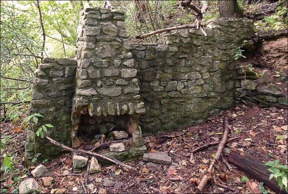 Eine alte Hausruine steht noch am Waldrand. Stufen führen hier hinauf